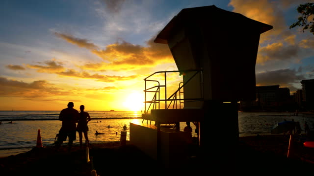 Lifeguard house at the sunset in Hawaii in 4k slow motion 60fps video