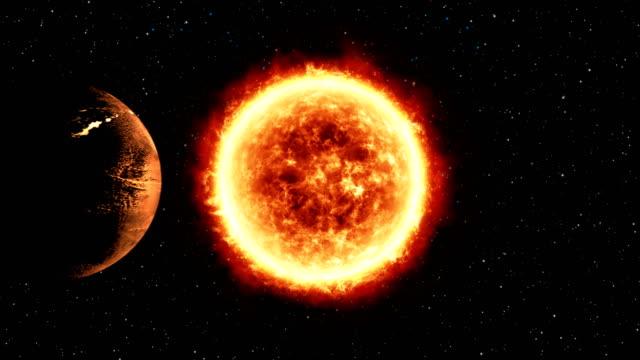 stockvideo's en b-roll-footage met levenloze planeet draait rond grote sterren, realistische beelden - reus fictief figuur