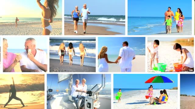 lifestyle montage of people enjoying vacation activities - aktiva pensionärer utflykt bildbanksvideor och videomaterial från bakom kulisserna