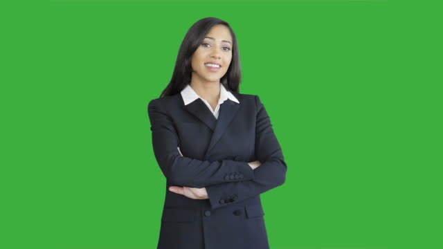 Lifestyle Portrait of Young African American Business Woman Isolated on Green Screen Chroma key Background - video
