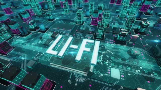 stockvideo's en b-roll-footage met li-fi met digitale technologie concept - isometric