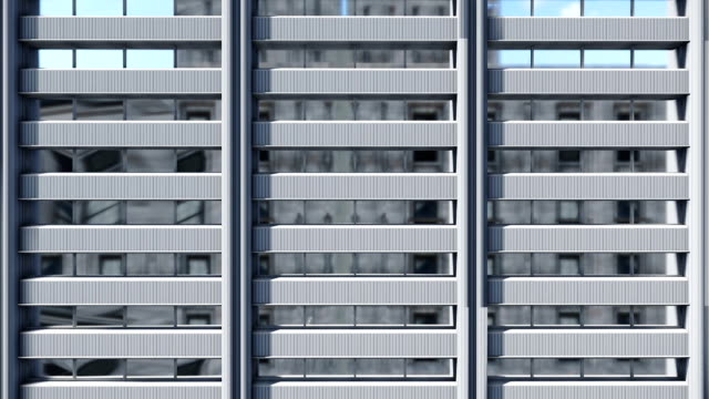 Lifting along abstract high rise office building Close up video