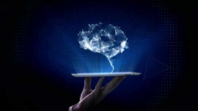 lifting smart pad, tablet, brain connect digital lines, grow artificial intelligence. 4k movie. - digital marketing stock videos & royalty-free footage