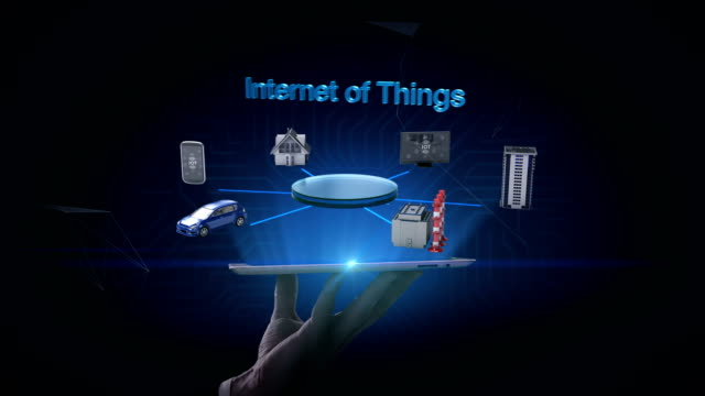 heben tablet, handy, smart house, fabrik, gebäude, auto, internet-sensor verbinden 'internet der dinge', 4k film. - smart city stock-videos und b-roll-filmmaterial