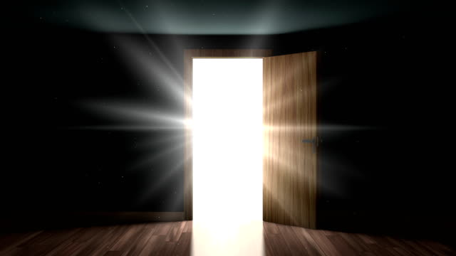 Light and particles in a room through the opening door Door open. 4K Light and particles in a room through the opening door chance stock videos & royalty-free footage