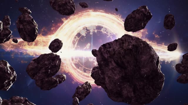 Light around a black hole in space and asteroids.
