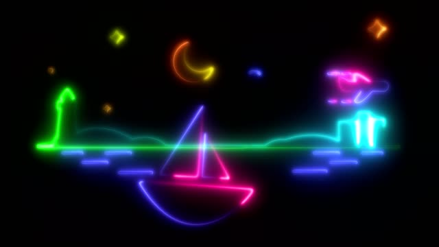 Light, blinking and glowing animation. multi-colored , neon outlines of boat, that swinging on the waves, a lighthouse, a night with a moon and stars. on a black background