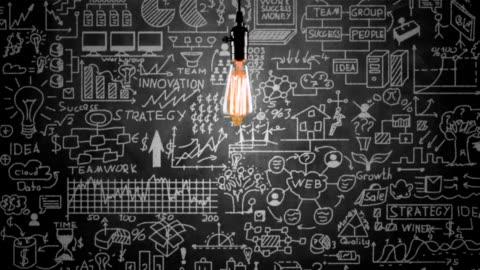 vídeos y material grabado en eventos de stock de bombilla de luz y estrategia de negocio en pizarra de concepto - ideas