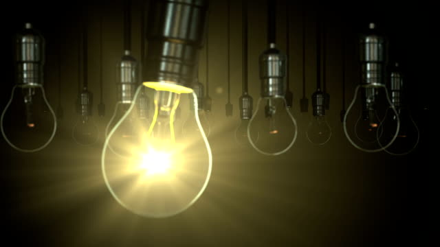 Light bulb animation. swing glow rising, video