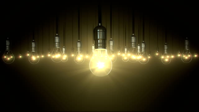 Light bulb animation. swing glow rising video