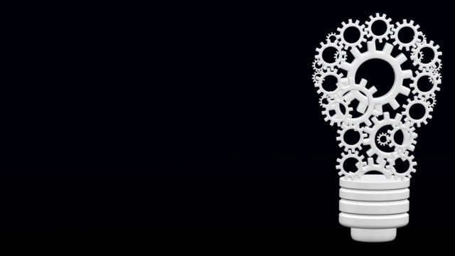 Light bulb design by rotating cogs and gears. Light bulb design by rotating cogs and gears. Kit 2 in 1. Start 6 sec. + Loopable 6 sec + Luma matte. 3D rendering. dark blue stock videos & royalty-free footage
