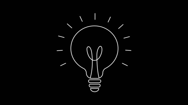 Light bulb drawing animation, isolated on white and black backgrounds