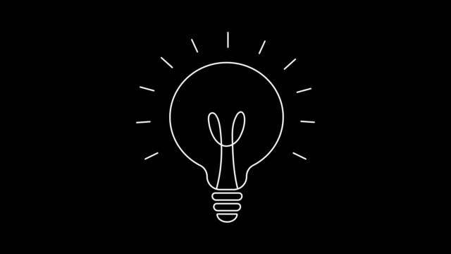 vidéos et rushes de animation de dessin d'ampoule, isolée sur des fonds blancs et noirs - image en noir et blanc