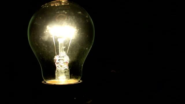 Light bulb illuminates a dark room video