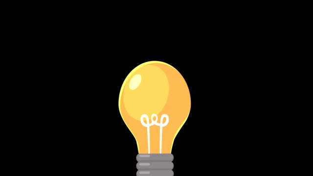 Light Bulb on black background. Idea pop-up. Solution. Thinking. Lighting Electric lamp. video