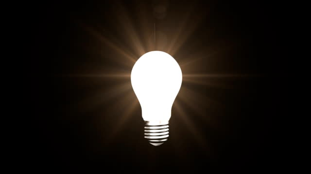 Light bulb Digitally generated animation of light bulb turned on and off with blinking white lines. light bulb stock videos & royalty-free footage