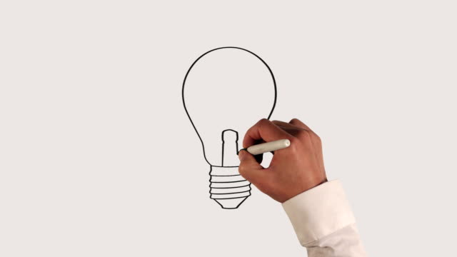 light bulb whiteboard animation - idea stock videos & royalty-free footage