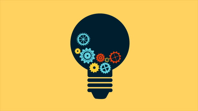 light bulb with gears, video animation - idea stock videos & royalty-free footage