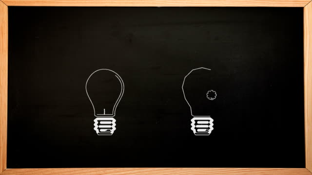 Light bulbs appearing on chalkboard video