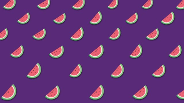 light cartoon watermelon's background with lots of small rotating watermelons icons. animation. beautiful cartoon animation, abstract graphics in trendy colors and style - kawaii video stock e b–roll