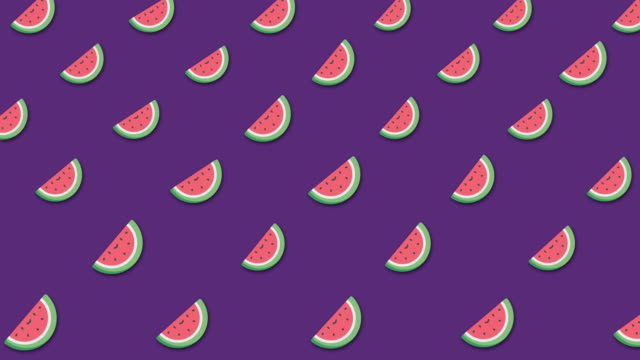 Light cartoon watermelon's background with lots of small rotating watermelons icons. Animation. Beautiful cartoon animation, abstract graphics in trendy colors and style video
