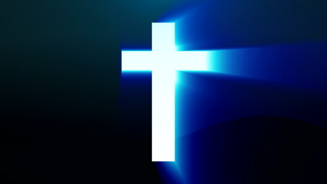 Light cross of Christ, ray beams background video