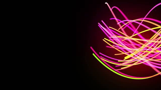 Light flow bg in 4k. Abstract looped background with light trails, stream of green red yellow neon lines in space move to form spiral shapes. Modern trendy motion design background light effect video