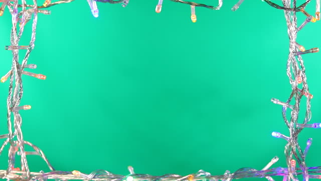led light frame green screen background - christmas lights стоковые видео и кадры b-roll