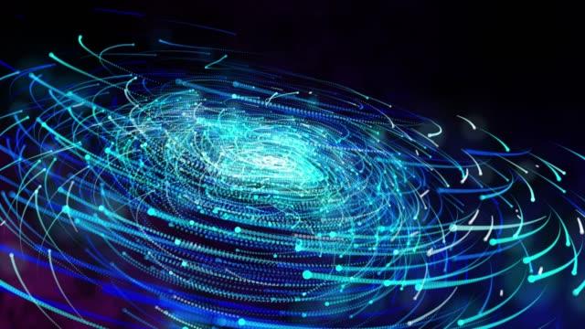 vidéos et rushes de mouvement de galaxie légère, poussière de nuage particulière dans l'espace de galaxie, énergie de puissance et concept de technologie de plate-forme future, rendu 3d - ciel etoile