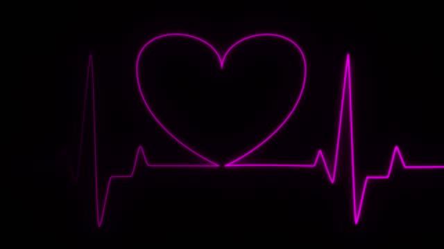 Light, glowing neon animation . Pink Heart Line, Heart rhythm, heart beat pulse. Abstract heart beats. cardiogram on black background video