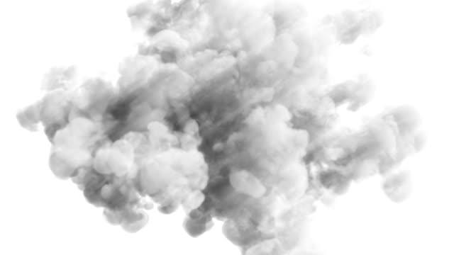 vidéos et rushes de explosion de fumée grise lumière sur blanc - gris