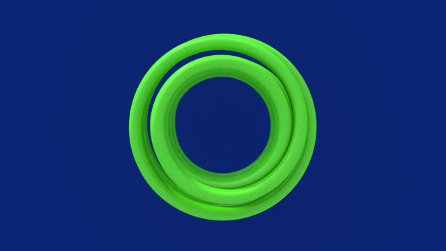 Light green spiral. Top view. Blue background. Abstract animation, 3d render.
