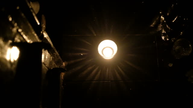 Light in darkness room. Scintillation with antique wall. Retro style video