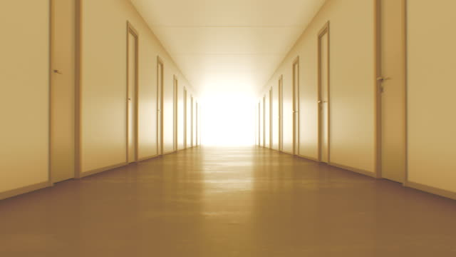 vídeos de stock e filmes b-roll de light in the end of tunnel. moving to the light seamless 3d animation. endless corridor with closed doors in warm light. - eternidade