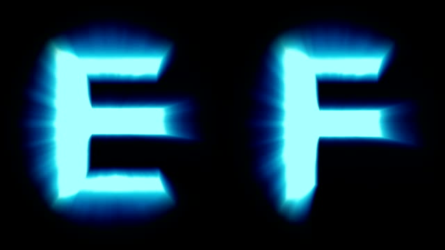light letters E and F - cold blue light - flickering shimmering animation loop - isolated video