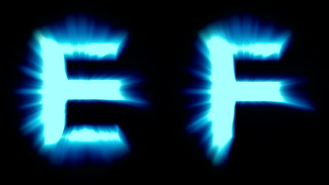 light letters E and F - cold blue light - strong shimmering and intense flickering animation loop - isolated video