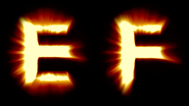 light letters E and F - warm orange light - strong shimmering and intense flickering animation loop - isolated video