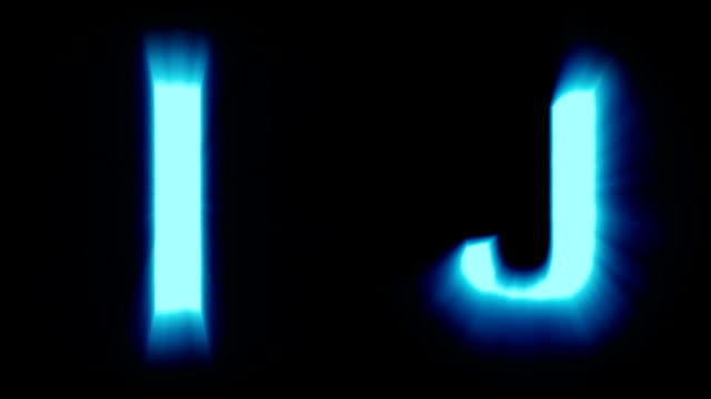 light letters I and J - cold blue light - flickering shimmering animation loop - isolated video