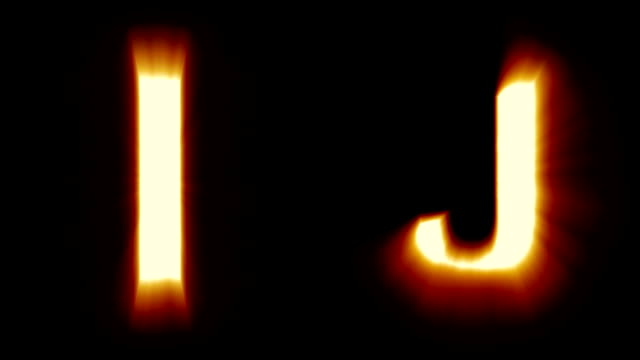 light letters I and J - warm orange light - flickering shimmering animation loop - isolated video