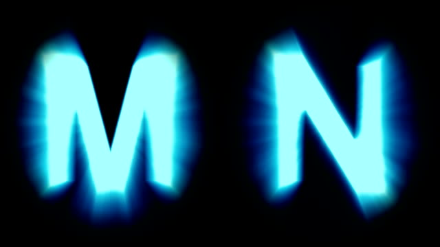 light letters M and N - cold blue light - flickering shimmering animation loop - isolated