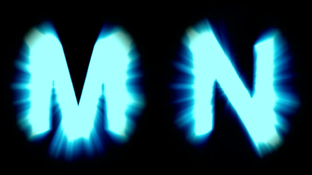 light letters M and N - cold blue light - strong shimmering and intense flickering animation loop - isolated