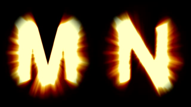 light letters M and N - warm orange light - strong shimmering and intense flickering animation loop - isolated