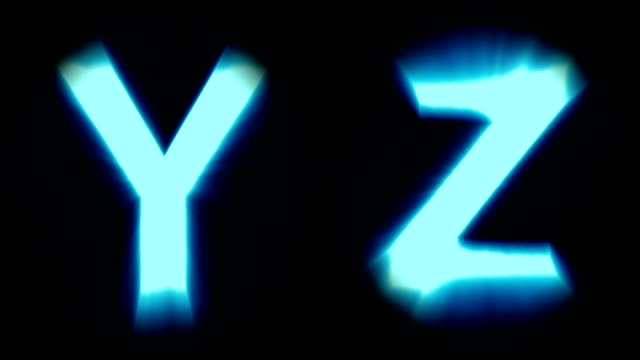 light letters Y and Z - cold blue light - flickering shimmering animation loop - isolated video