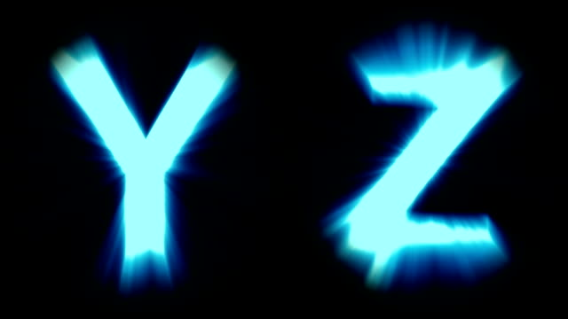 light letters Y and Z - cold blue light - strong shimmering and intense flickering animation loop - isolated video