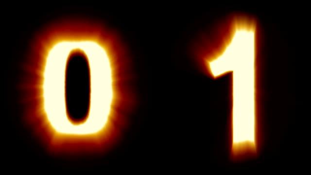 licht, zahlen 0 und 1 - warmes orange licht - flackern schimmernden animationsschleife - isoliert - dekorative kunst stock-videos und b-roll-filmmaterial