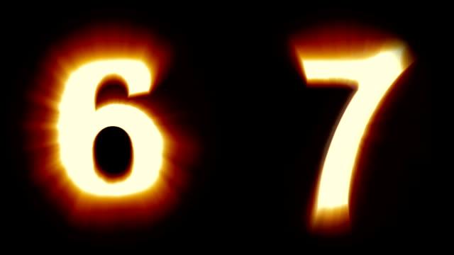 licht, nummern 6 und 7 - warmes orange licht - flackern schimmernden animationsschleife - isoliert - dekorative kunst stock-videos und b-roll-filmmaterial