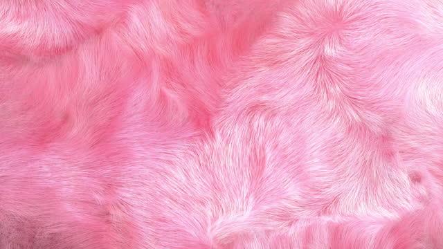 Light Pink Fur Background Pink fur background, slow motion, closeup of waving  plush fur texture 3D. fur stock videos & royalty-free footage