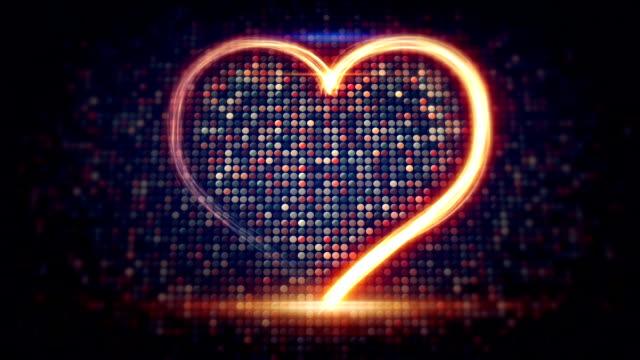 light streaks heart shape loopable video