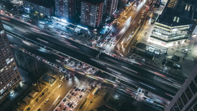 T/L PAN HA Light Trail of Beijing Highway at Night video