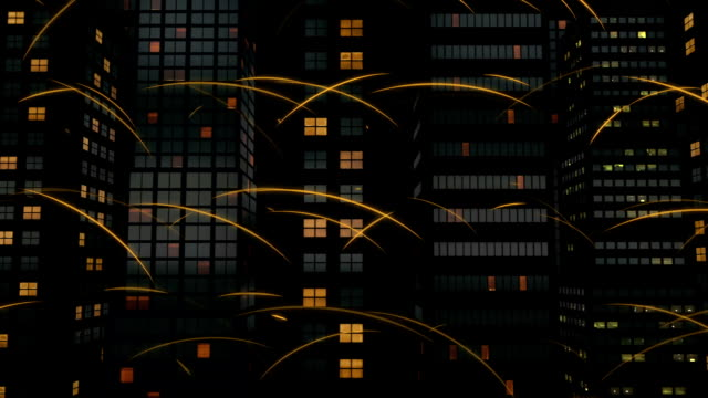Light Trails and Offices Symbolises Digital Network video